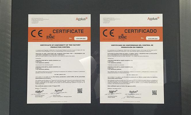 Certificado calzos de seguridad